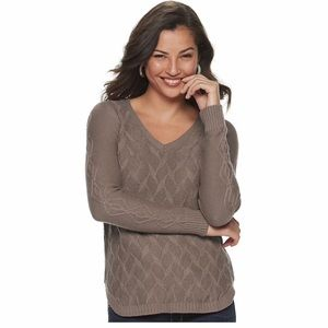 Leaf Cable-Knit Sweater in Light Brown